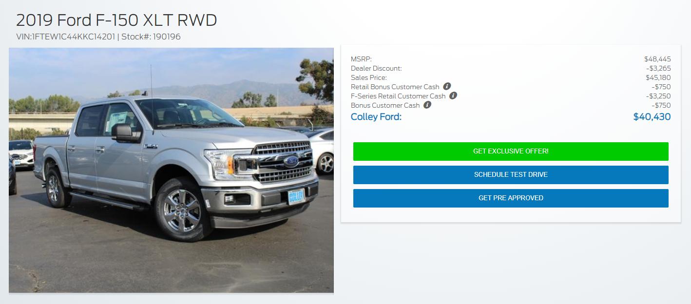 2019 Ford F-150 XLT RWD Deal